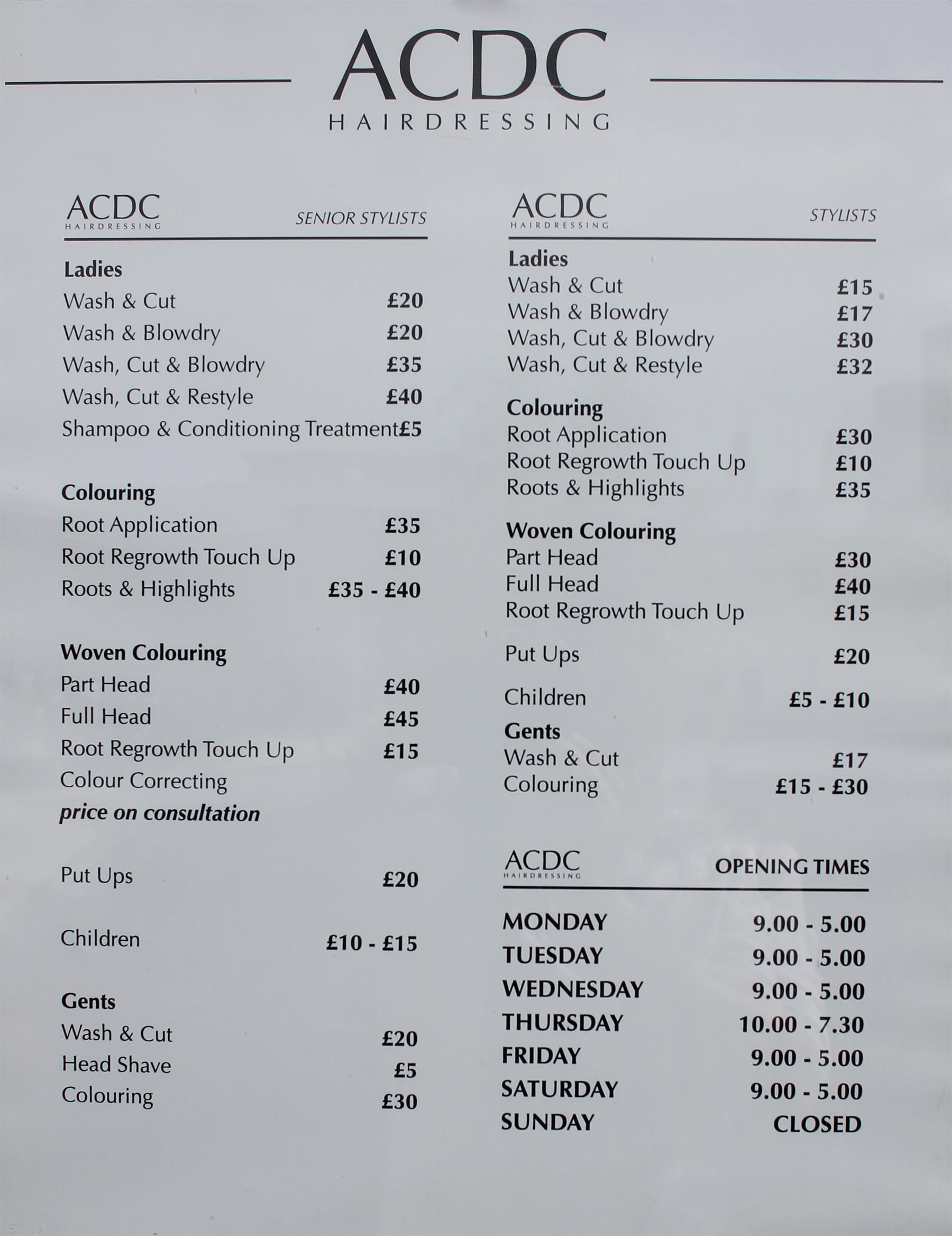 prices hairdressers hull